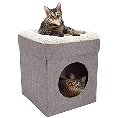 Kitty City Large Cat Bed, Stackable Cat Cube, Tan (CM-10073-CS01)