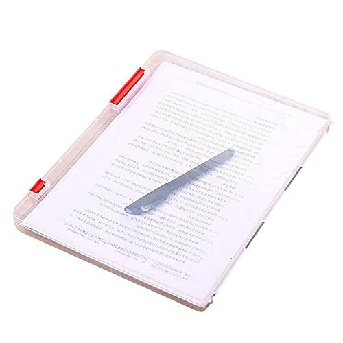 Caja de almacenamiento de archivos A4 de plástico transparente para documentos y suministros de oficina, organizadores de documentos de escritorio, contenedor de colecciones de papel (solo caja)