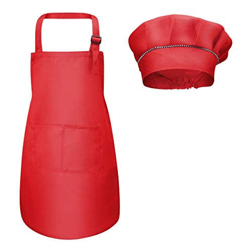 Fodlon Grembiule per Bambini + Cappello da Cuoco, Grembiule da Cucina Regolabile per Bambini con Tasche Grembiule da Chef per Cucinare e Cuocere la Pittura 4-12 Anni (Rosso, L)