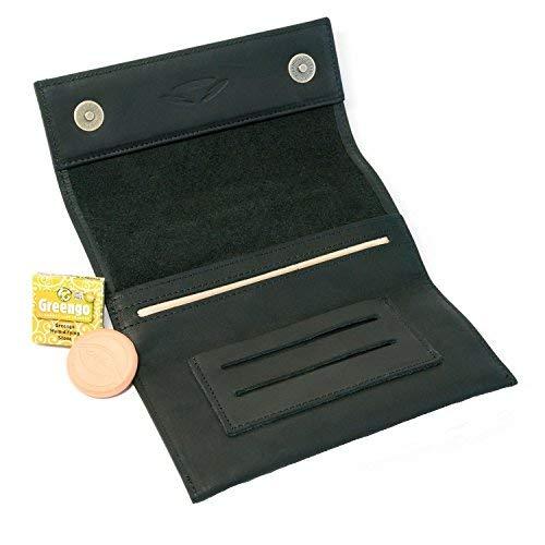 COMARI Portatabacco in cuoio | doppio scomparto per cartine e filtri | chiusura magnetica | umidificatore per tabacco gratis (nero)
