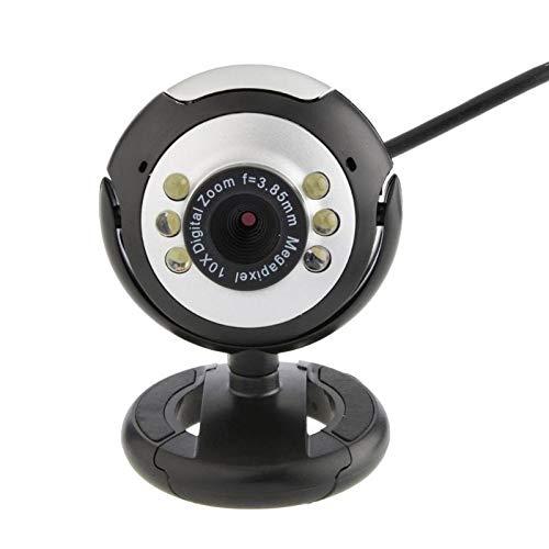 JZUKU Webcam USB. USB Webcam HD 6 LED di Notte Webcam Luce Clip Integrata Microfono della Telecamera PC Notebook del Desktop