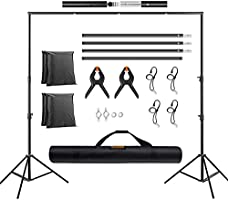 TECDIGBO 6.5x10ft Backdrop Stand Kit Adjustable Studio Premium Photo & Video Support System Background Stand Kit with...