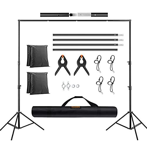 Soporte para Fondos 2x3 Metros Ajustable Sistema de Soporte con 2+4 Clips y 2 Bolsas Arena para Fotografía de Producto, Retrato y Grabación de Video