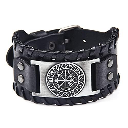 Braccialetti in pelle con corda intrecciata ampia Bussola braccialetto regolabile Braccialetti Uomo gioielli antico argento cinturino per uomo