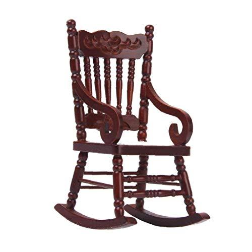 Canjerusof 1:12 Model Rocking Chair Dollhouse Miniature Wooden Model Rocking Chair Brown Furniture Toy for Kids Children