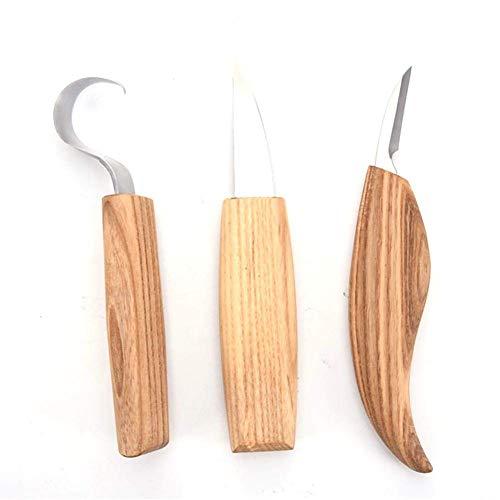 Edelstahl Holzschnitzmesser, 3PCS Holz Skulptur Schnitzen, Holzschnitzerei Haken Messer Rechtshänder Löffel Schnitzwerkzeuge Grundlegendes gekrümmtes Messer für Schnitzlöffel Schalen Kuksa und Tassen