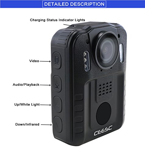 CEESC Body Worn Camera WN9 with Night Vision for Police Law Enforcement, 1080P 2 Inch LCD Screen Sports Action Camera with 120 Degree Wide Angle (32GB)