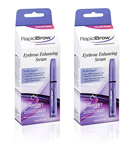 RapidBrow Eyebrow Enhancing Serumeyelash growth serum, Clear, Nourishing Serum 0.1 fl. oz.(2 Packs)
