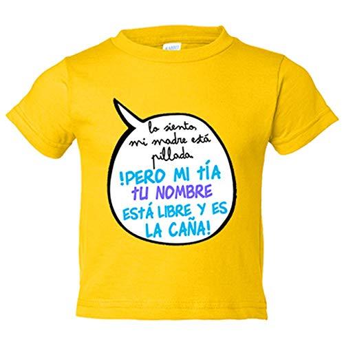 Camiseta bebé personalizable con nombre frase divertida mi tía está libre y es la caña chico - Amarillo, 1 año