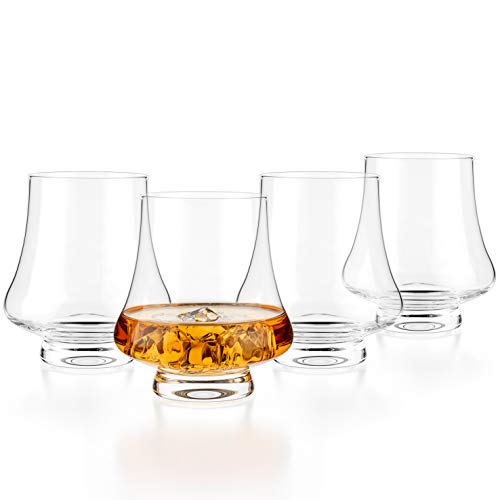 Luxbe - Bourbon Whisky Crystal Glass Snifter, Set of 4 - Wide Tasting Glasses - Handcrafted - Good for Cognac Brandy Scotch - 9-ounce/260ml
