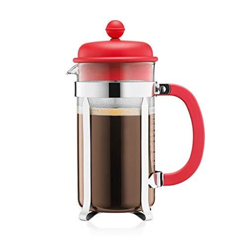 Bodum CAFFETTIERA Kaffeebereiter (French Press System, Permanent Edelstahlfilter, 1,0 liters) rot