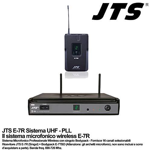 JTS E-7R - E-7TBD - Sistema de micrófono inalámbrico con un solo Bodypack Freq.690-726 MHz UHF PLL, color negro