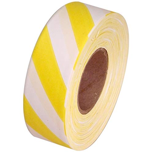 """Safety Striped Flagging Tape 1-3/16"""" Non-Adhesive Plastic Ribbon, Yellow/White(Pack of 1)"""