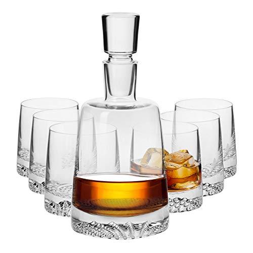 KROSNO Karafset voor Whisky Glazen| 1 x 950 ml kristallen karaf & 6 x 300 ml Glazen | Fjord Collectie | Perfect voor Thuis, Restaurants en Feesten | Perfect cadeau voor een kenner