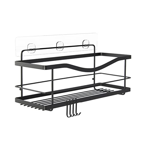 KINCMAX Shower Caddy Basket Shelf with Hooks, Caddy Organizer Wall Mounted Rustproof Basket with Adhesive, No Drilling, 304 Stainless Steel, Storage...