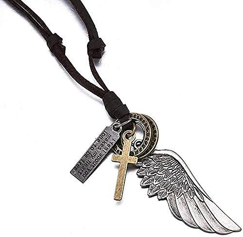 LKLFC Collar Mujer Collar Hombre Colgante bolígrafos Collar con alas de ángel Colgante Vintage Cuero marrón para Mujer Hombre joyería Collar para niñoCollar Regalo para niñas niños
