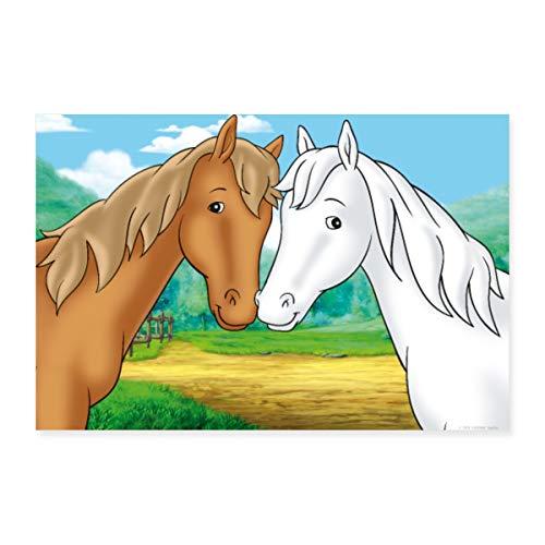 Spreadshirt Bibi und Tina Pferde Amadeus und Sabrina Poster 60x40 cm, Weiß