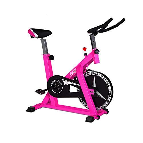 Bicicleta estática de Spinning, ejercicio en interiores, entrenamiento para mantenerse en forma (color: rosa; tamaño: 104 x 58 x 114 cm)