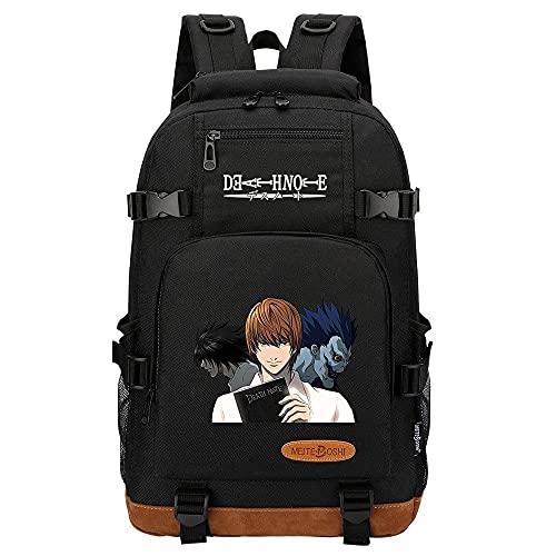 ZXXFR Mochila bolsos Anime DEATH NOTE Mochila escolar para estudiantes jóvenes Bolsa de viaje de gran capacidad Negro senderismo portatil ordenador instituto escolares juveniles bolso