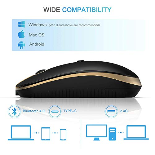Jelly Comb USB+Type-C Bluetooth Maus Wiederaufladbar Maus Schnurlos Wireless Optische Bluetooth Maus für PC/Tablet/Laptop und Windows/Mac/Linux, Schwarz und Gold