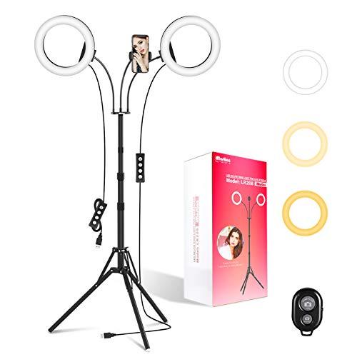 2個LEDリングライト 三脚 照明/撮影兼用 フロアランプ 360回転式 Bluetoothリモコン付き 高輝度 3色モード付き 10段階調光 撮影キット メイクアップ/YouTube生放送/ビデオカメラ撮影用