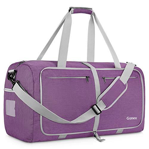 Gonex 65L Travel Duffel Bag Foldable Water Resistant Travel Bag Lightweight Duffel Bag with Big Capacity for Luggage Gym Sports Purple