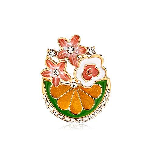 Bloemen en planten met strass geel rood broches voor vrouwen emaille broche pins sieraden accessoires boeket broches