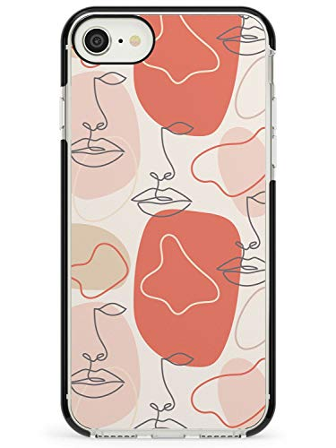 Stylish Abstract Faces Minimal Line Art Black Impact Impact Phone Case for iPhone 7 Plus, for iPhone 8 Plus | Protective Dual Layer Bumper TPU Silikon Cover Pattern Printed | Artistic Face Drawing Il