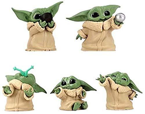 SKYUXUAN 5 Piezas de Baby Yoda Figura de acción de Juguete 2 Pulgadas Muñeca Yoda pequeña Adecuada para fanáticos del Cine de Todas Las Edades