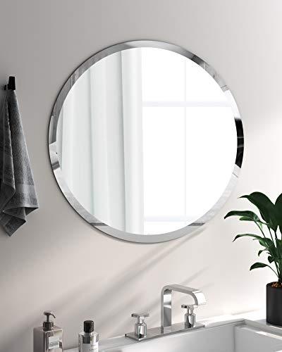 Khoros - Espejo de Pared Redondo Biselado Pulido sin Marco para baño, tocador, Dormitorio (Redondo de 61x61cm)