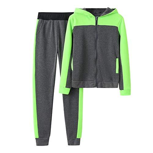 HEVÜY Damen Sportanzüge Kapuzenpullover Jogginganzug Trainingsanzug Reißverschluss Kapuzenjacke Sportanzug Jogginghose Mantel Beiläufig Baumwolle Hose