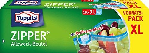 Toppits Zipper - Sacchetto multiuso, 3 litri