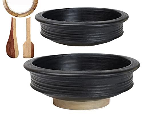 Craftsman India Online Pre-Seasoned Earthen/Clay-Handi/Kadai/Pot Combo 1 & 2 Liter