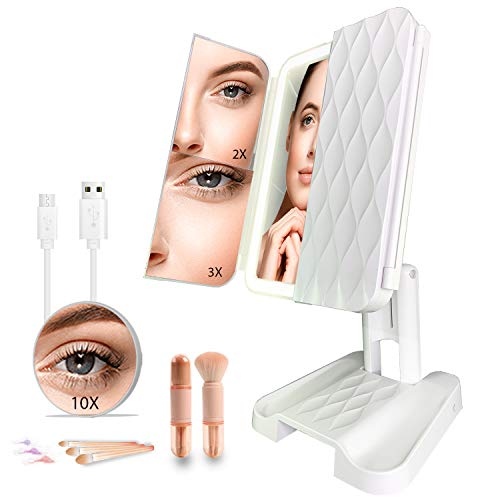 PHABMAX makeup mirror vanity mirror with lights 3 color lighting modes 72 LED Trifold mirror,touch control 1x/2x/3x/10x magnification portable high definition cosmetic lighted up mirror with brush set