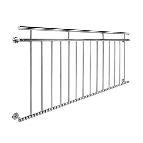 Wiltec Balkongeländer Edelstahl 90x184cm Französischer Balkon Stabgeländer