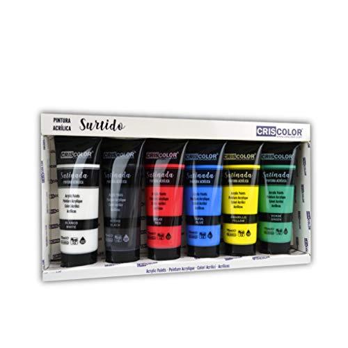 Criscolor 8435621413236 Set de pintura acrilica de 6 colores para lienzos y...