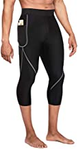 Wonderience Men Neoprene Slimming Pants for Weight Loss Hot Thermo Sauna Sweat Capri Fitness Workout Body Shaper (Black, L)