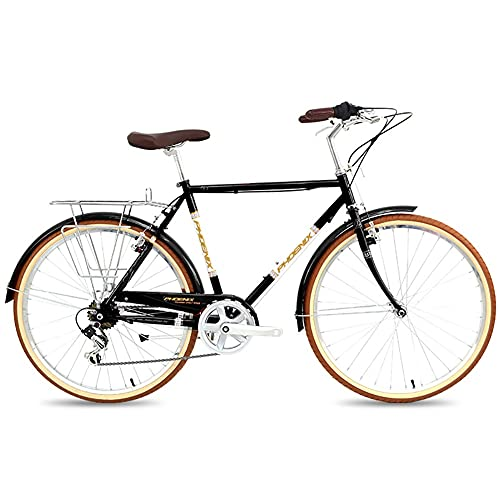 QIU La Primavera de Las Mujeres 7 veleiza a Las Damas y Las niñas Estilo holandés City Bike Lightweight 700C con Partes (24/26 Pulgadas) (Color : Black, Size : 26')