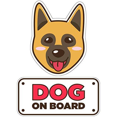 BSL Shepherd Car Sticker - Dog on Board Sticker and Decal - Dog Bumper Car Sticker - Pet Window Car Sticker - Dog in Car Sticker - Cute Safety Caution Decal Sign for Cars