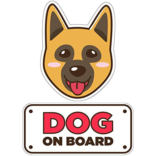 BSL Shepherd Car Sticker - Dog on Board Sticker and Decal - Dog Bumper Car Sticker - Pet Window Car Sticker - Dog in Car Sticker - Cute Safety Caution Decal Sign for Cars