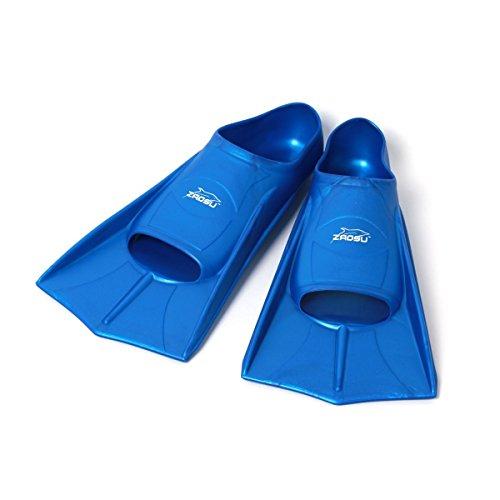 ZAOSU Unisex Training Fins   Kurzflossen für Erwachsene und Kinder fürs Training im Schwimmen, Größe:35/36, Farbe:blau