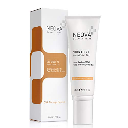 NEOVA SmartSkincare Silc Sheer 2.0 Broad Spectrum SPF 40 Physical Sunscreen with DNA Repair Technology and skin perfecting sheer tint.