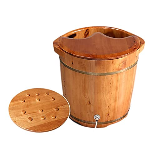 COLiJOL Voetbad, massief houten voetenbad, voetenbad, cederhouten emmer hoogte met drainageontwerp, massage, spa, sauna, weken, 37x38cm (kleur: geen hoes), bedekt