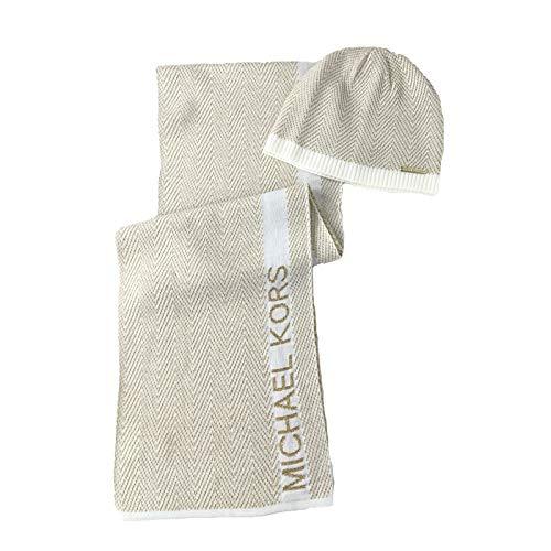 Michael Kors Damen Set mit Schal und Mütze mit Zick-Zack-Logo -  Beige -  Einheitsgröße
