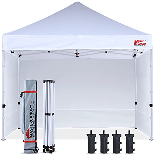 MASTERCANOPY Pop-up Canopy Tent 10x10 Commercial Instant Canopies with 4 Removable Side Walls and Roller Bag, Bonus 4 SandBags(10x10ft,White)