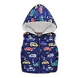 SO-buts Niños Pequeños Bebés Niñas Niño Invierno Cálido Sin Mangas Coche Estampado Chaleco Con Capucha Chaqueta Chaqueta Chaleco Tops (Azul Oscuro,3-4 años)