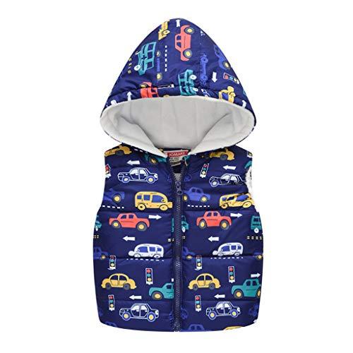 SO-buts Niños Pequeños Bebés Niñas Niño Invierno Cálido Sin Mangas Coche Estampado Chaleco Con Capucha Chaqueta Chaqueta Chaleco Tops (Azul Oscuro,4-5 años)