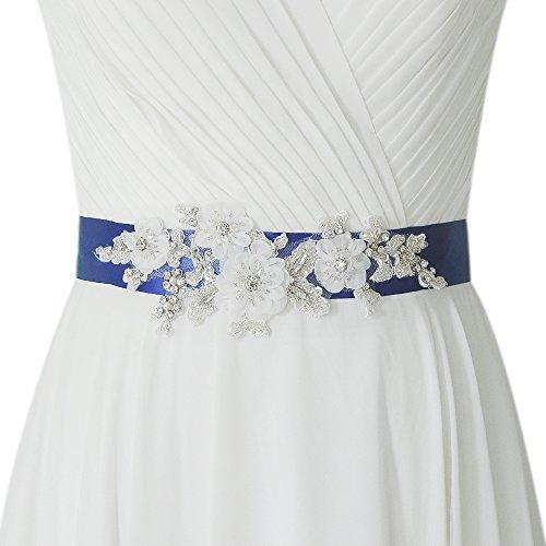 THK-Wedding Blumen Braut Schärpe Rhinestones Hochzeit Schärpe,Strass Hochzeit Gürtel,Diamanten Braut Gürtel (Lila)