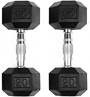 GYMENIST Set of 2 Hex Rubber Dumbbell with Metal Handles, Pair of 2 Heavy Dumbbell Choose Weight