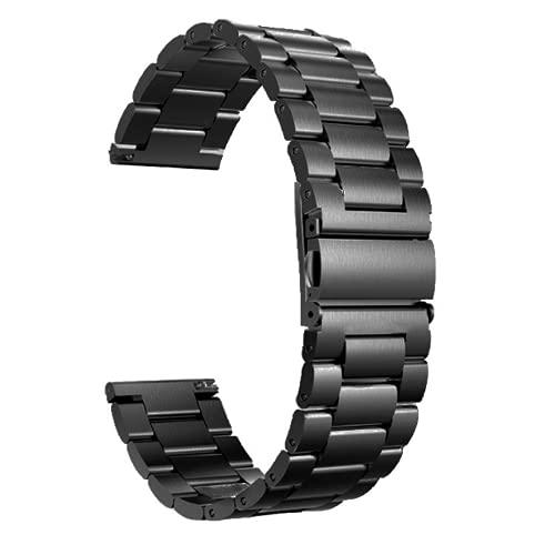 G-RF Bandas De Repuesto para Samsung Galaxy Watch 42mm/ 46mm Tres De Metal De Acero Inoxidable Correa (20mm,Negro)